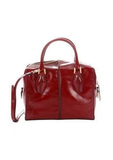 Tod's red patent leather small convertible top handle bag