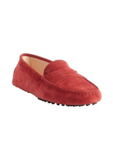 Tod's red suede penny loafer moccasins
