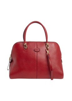 Tod's scarlet red leather large top handle tote
