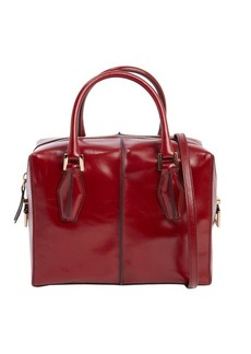 Tod's scarlet red leather small top handle tote
