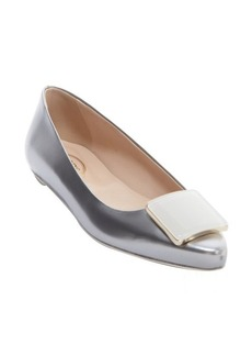 Tod's shined silver leather buckle detail 'Ballerina' flats