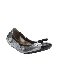 Tod's silver and black leather tassel detail packable ballet flats