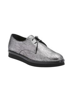 Tod's silver metallic suede lace-up oxfords