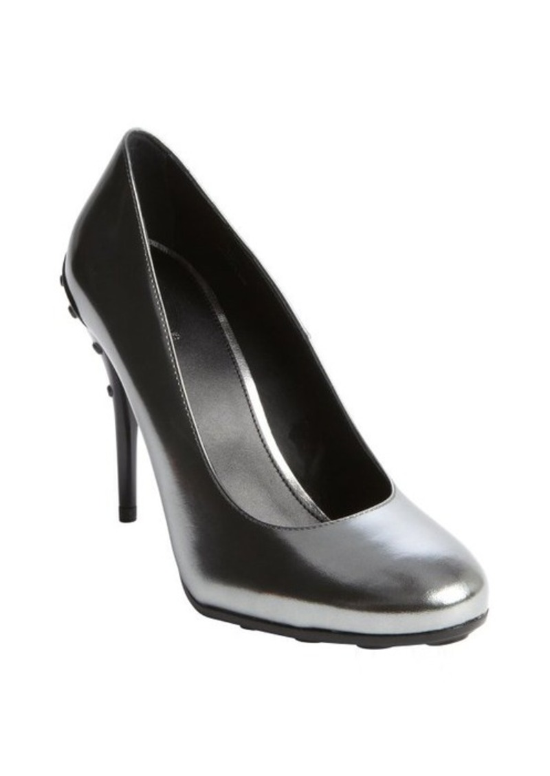 Tod's silver mirrored leather pebbled heel pumps