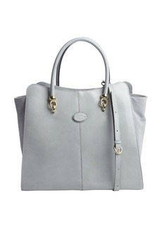 Tod's sky blue leather convertible tote bag