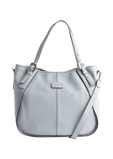 Tod's sky blue leather logo stamp convertible shoulder bag