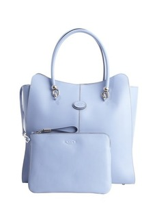 Tod's sky blue logo stamp top handle large tote