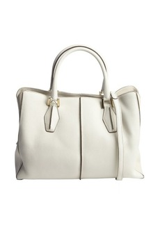 Tod's stone pebbled leather convertible top handle bag