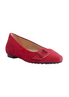 Tod's strawberry suede pointed toe buckle detail flats