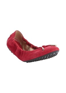 Tod's strawberry suede tasseled ballet flats
