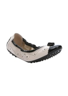 Tod's stucco and black leather tassel detail packable ballet flats