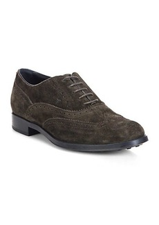 Tod's Suede Wingtip Lace-Up Oxfords