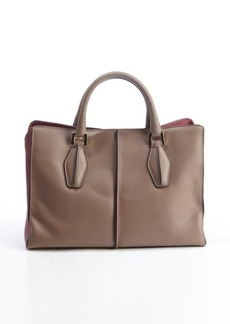 Tod's taupe and maroon leather top handle convertible tote bag