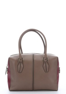 Tod's taupe and purple leather top handle tote
