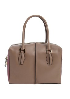 Tod's taupe and wine leather small top handle tote