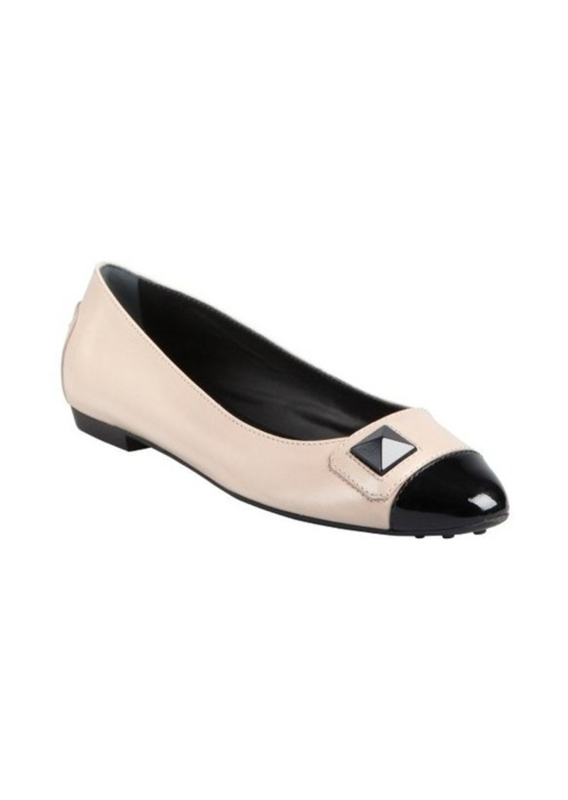 Tod's taupe leather and black patent cap toe ballet flats