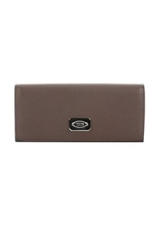 Tod's taupe leather continental wallet
