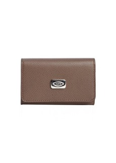 Tod's taupe leather key chain snap button wallet