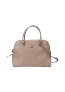 Tod's taupe leather large top handle tote