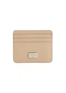 Tod's taupe leather logo plaque card case