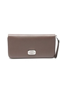 Tod's taupe leather logo plaque zip continental wallet