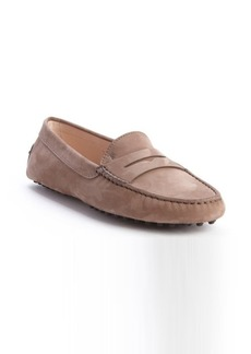 Tod's taupe leather penny strap slip-on loafers