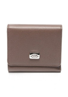 Tod's taupe leather tri-fold wallet