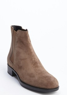 Tod's taupe suede elastic gusset ankle boots
