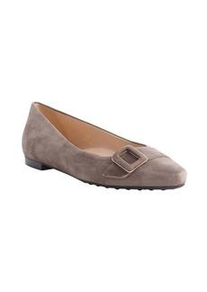 Tod's taupe suede pointed toe buckle detail flats