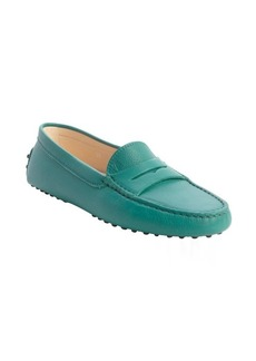 Tod's teal leather penny loafer moccasins