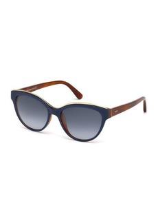 Tod's Two-Tone Plastic Cat-Eye Sunglasses