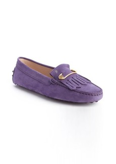 Tod's violet leather 'Heaven Frangia Spilla' loafers