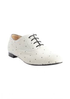 Tod's white and black calf hair dot pattern lace up oxfords