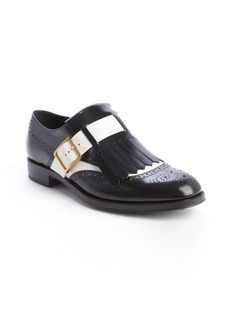 Tod's white and black leather fringed loafters