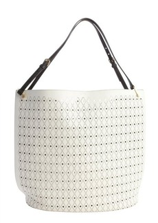 Tod's white and brown laser cut leather 'Secchiello Grande Traforo' tote