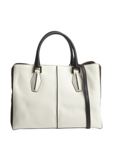 Tod's white and brown leather suede accent convertible top handle bag