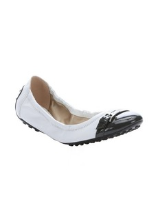 Tod's white and grey leather cap-toe ballerina flats