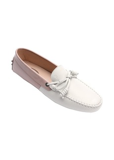 Tod's white and pink leather tie detail moc ...