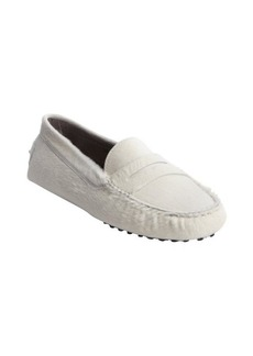 Tod's white calf hair penny loafers