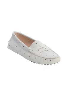 Tod's white dotted calf hair penny loafer moccasins