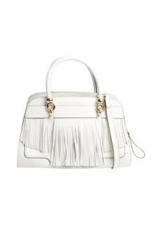 Tod's white leather fringed small handbag