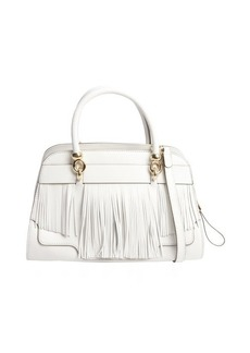 Tod's white leather fringed small handbag