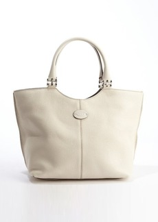 Tod's white leather logo 'Piccola' shopping tote