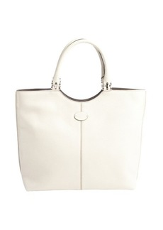 Tod's white leather logo stamp shoulder bag