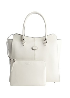 Tod's white leather logo stamp top handle large tote