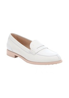Tod's white leather split moc toe penny loafers