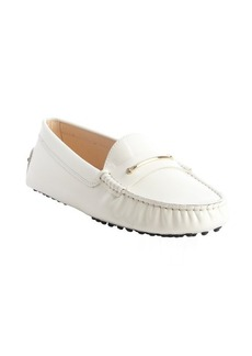 Tod's white leather strap accent loafers