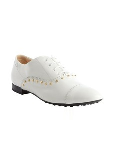 Tod's white leather studded detail lace up oxfords
