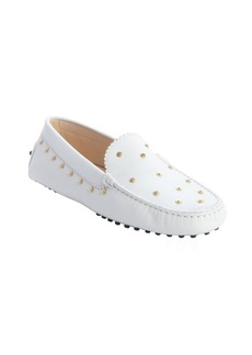 Tod's white leather studded slip on loafers