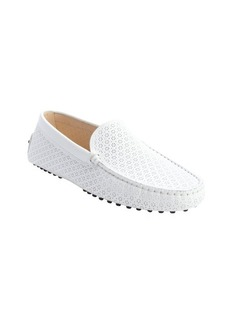 Tod's white patent leather perforated detail slip-on loafers